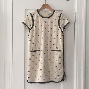 Madewell Linen Black Stitch Shift Dress